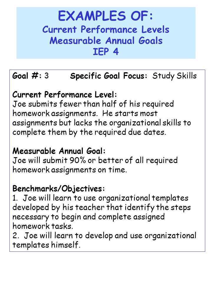 writing a measurable annual goal examples