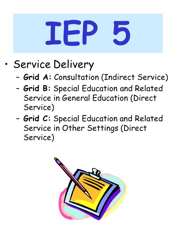 IEP 5 Service Delivery Grid A: Consultation (Indirect Service)