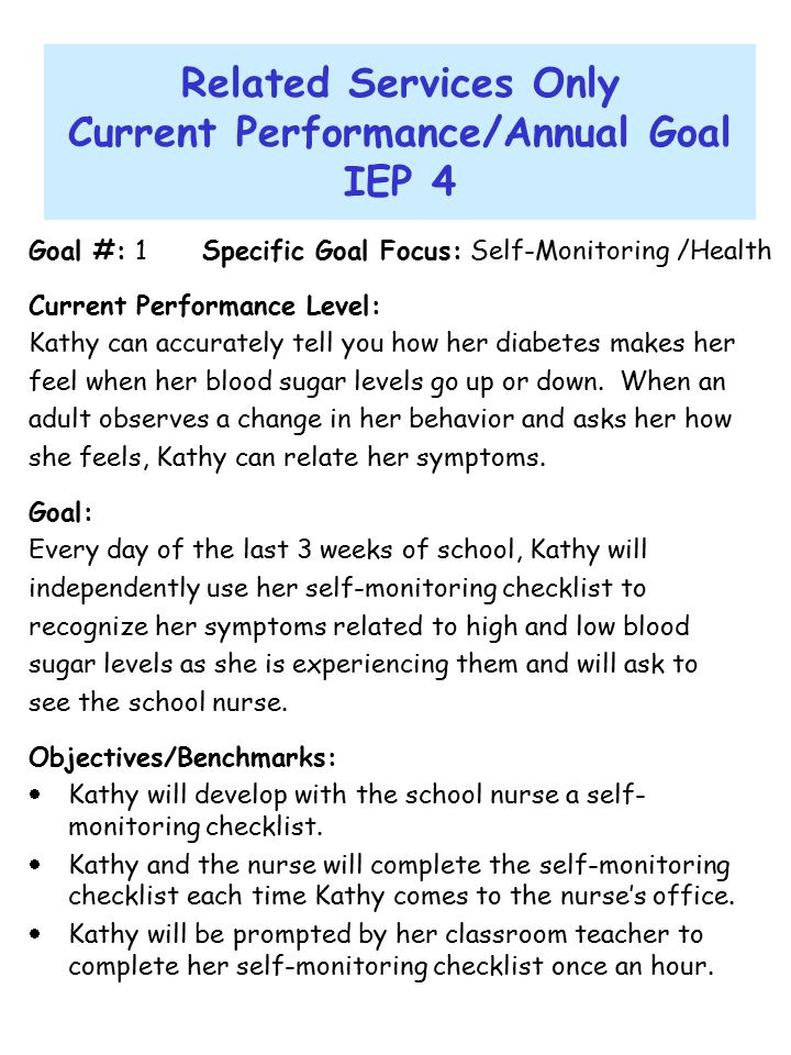 Related Services Only Current Performance/Annual Goal IEP 4