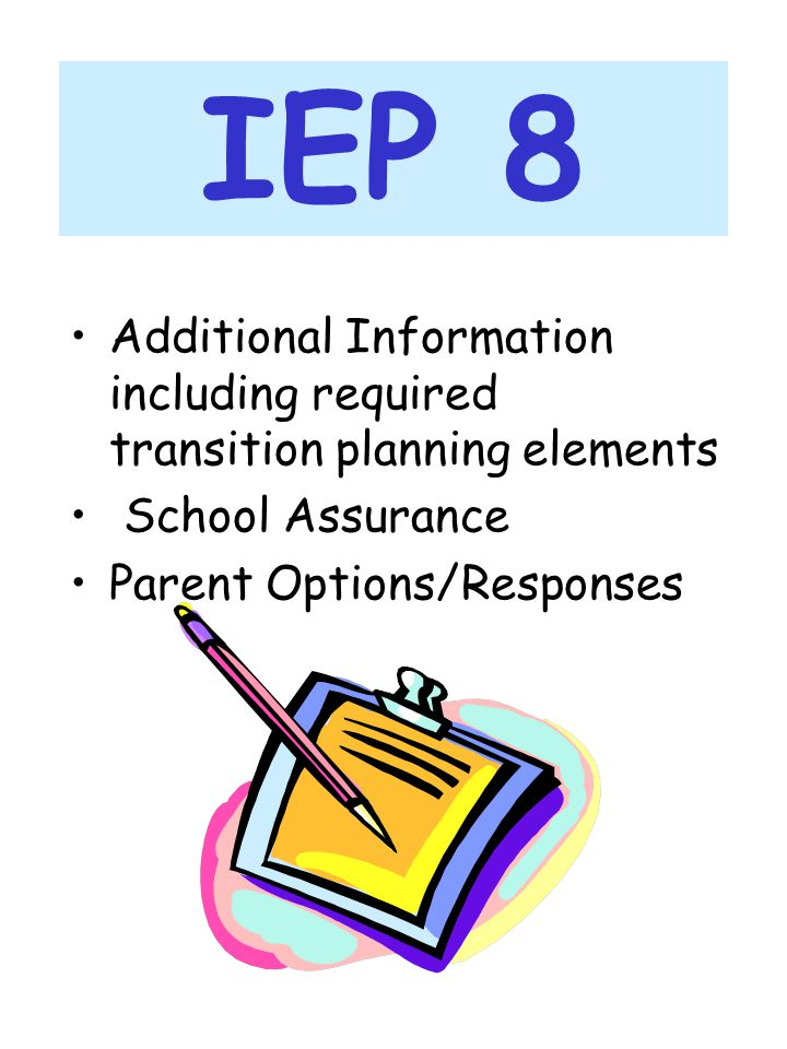IEP 8 Additional Information including required transition planning elements. School Assurance. Parent Options/Responses.