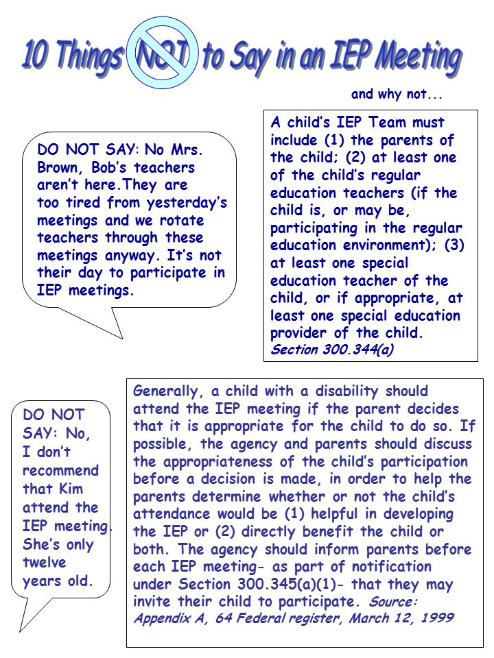 10 Things NOT to Say in an IEP Meeting