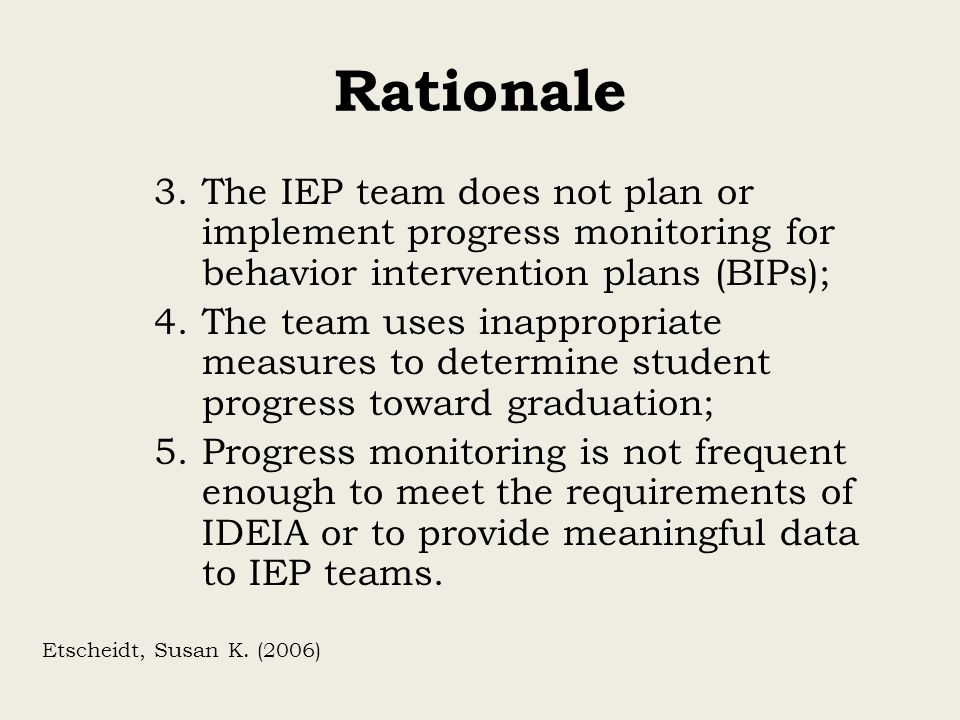 Rationale The IEP team does not plan or implement progress monitoring for behavior intervention plans (BIPs);
