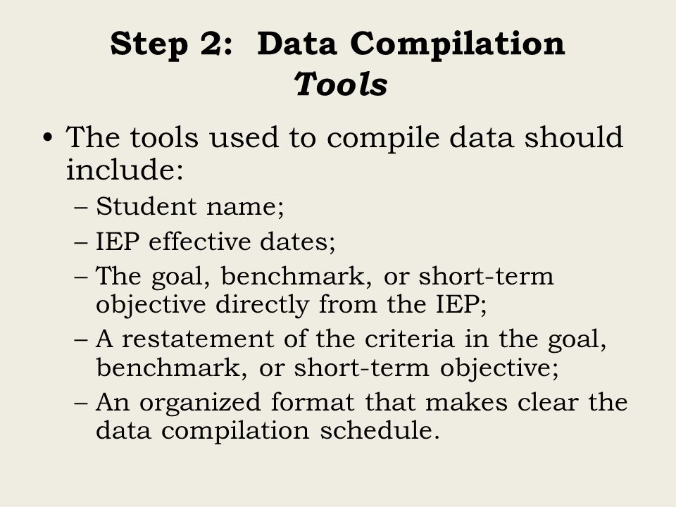 Step 2: Data Compilation Tools