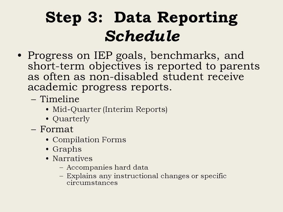 Step 3: Data Reporting Schedule