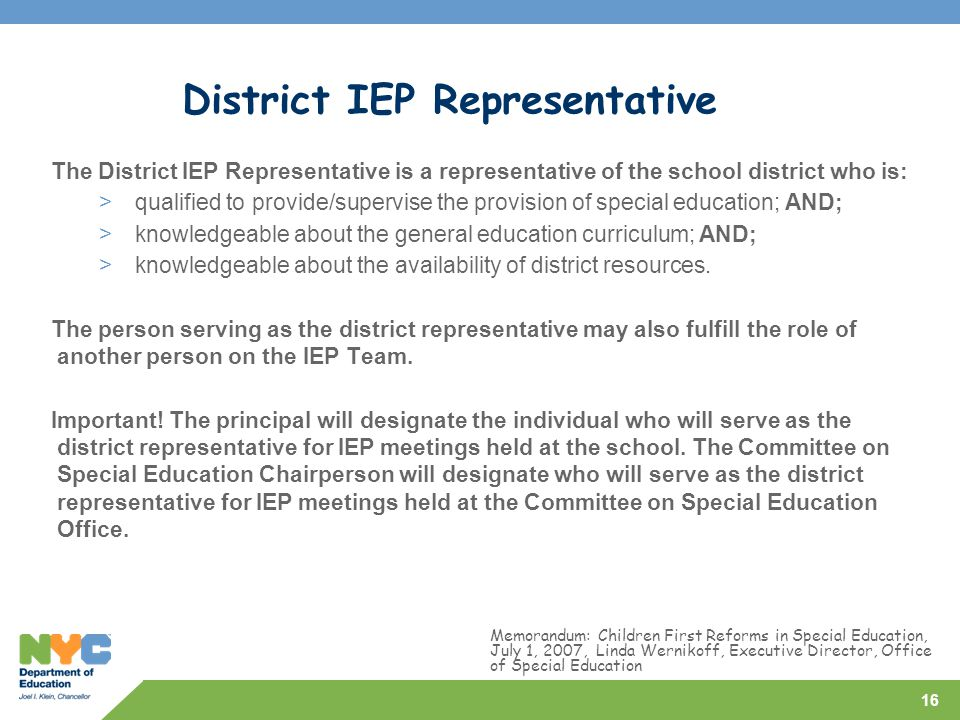 District IEP Representative