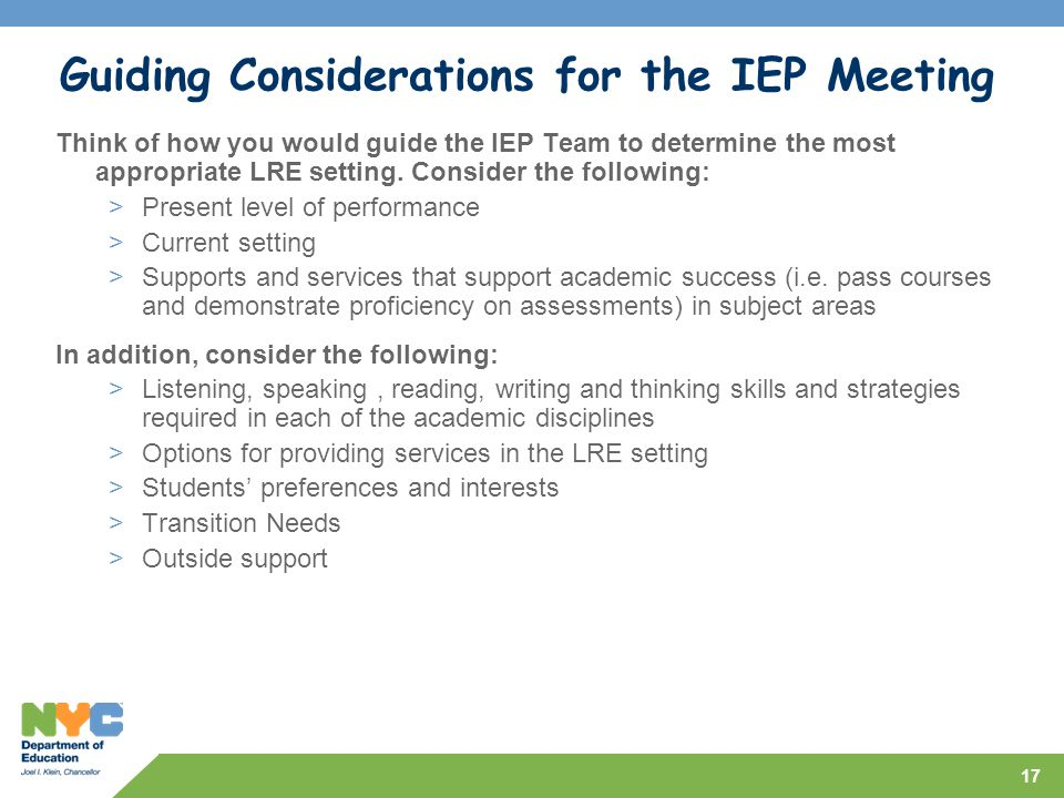 Guiding Considerations for the IEP Meeting