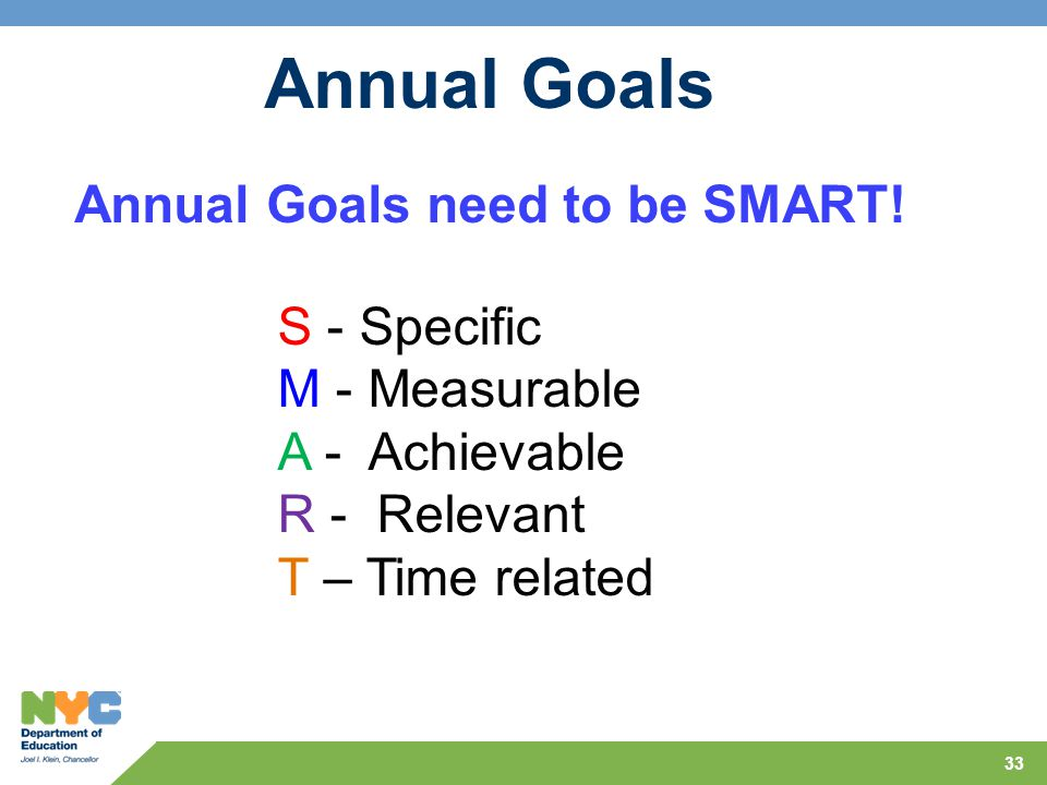 Annual Goals need to be SMART!