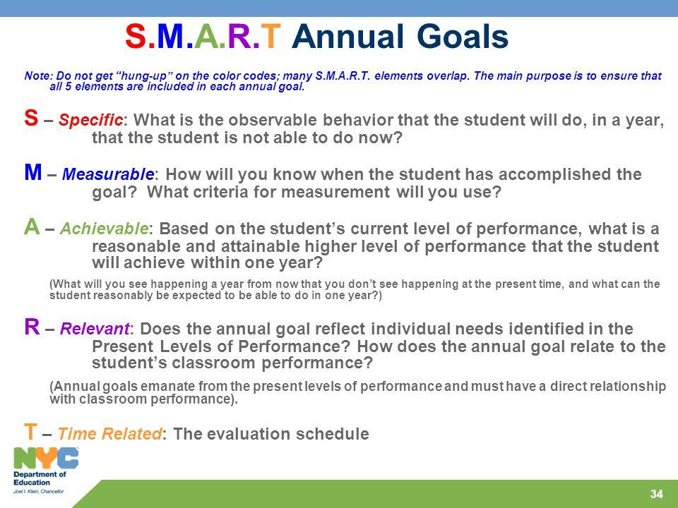S.M.A.R.T Annual Goals