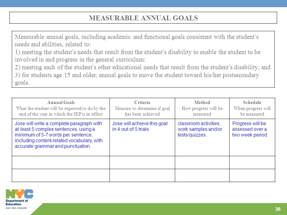 MEASURABLE ANNUAL GOALS