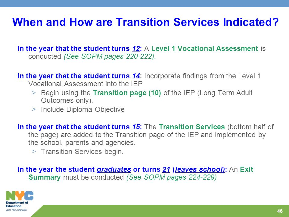 When and How are Transition Services Indicated