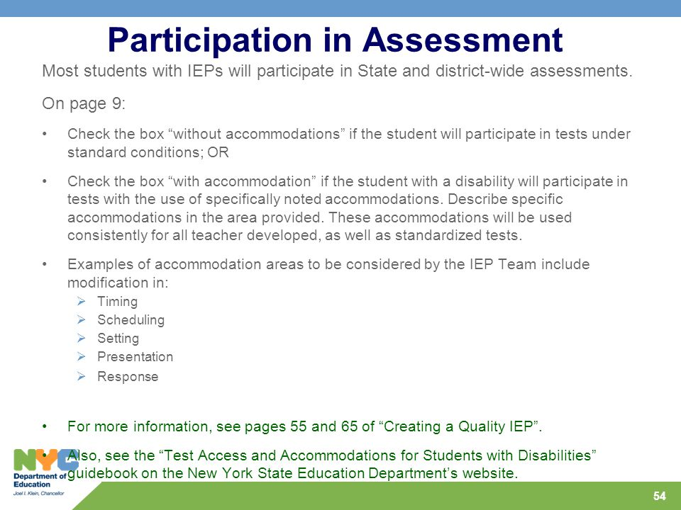 Participation in Assessment