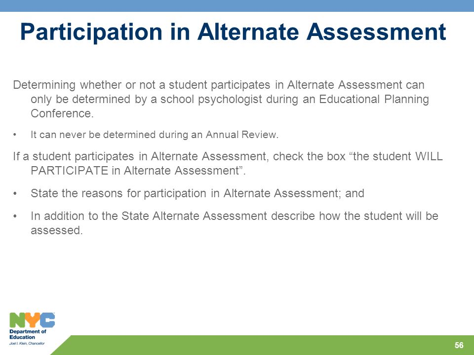 Participation in Alternate Assessment