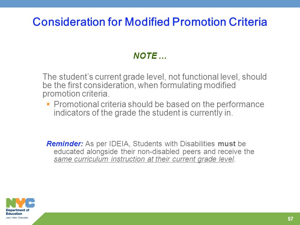 Consideration for Modified Promotion Criteria