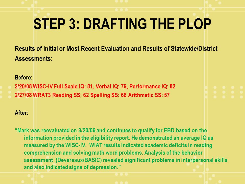 STEP 3: DRAFTING THE PLOP