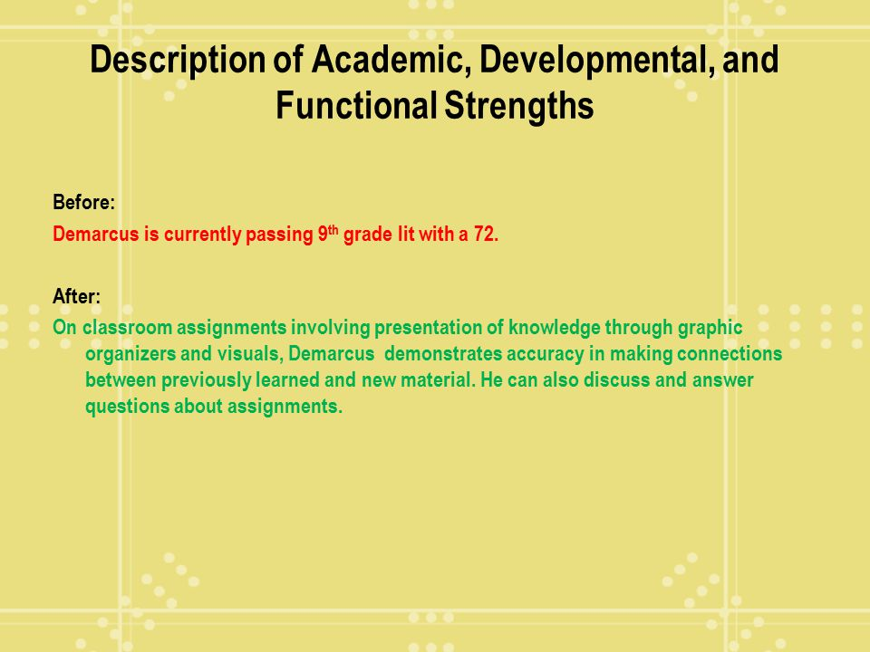 Description of Academic, Developmental, and Functional Strengths
