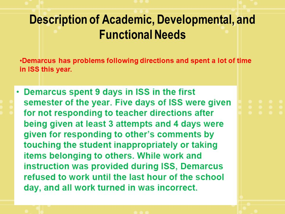 Description of Academic, Developmental, and Functional Needs