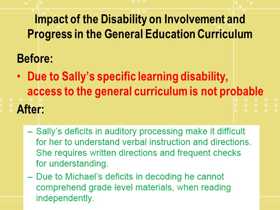 Impact of the Disability on Involvement and Progress in the General Education Curriculum