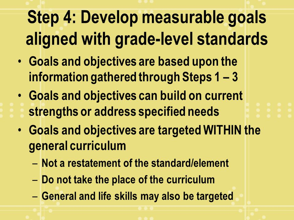 Step 4: Develop measurable goals aligned with grade-level standards