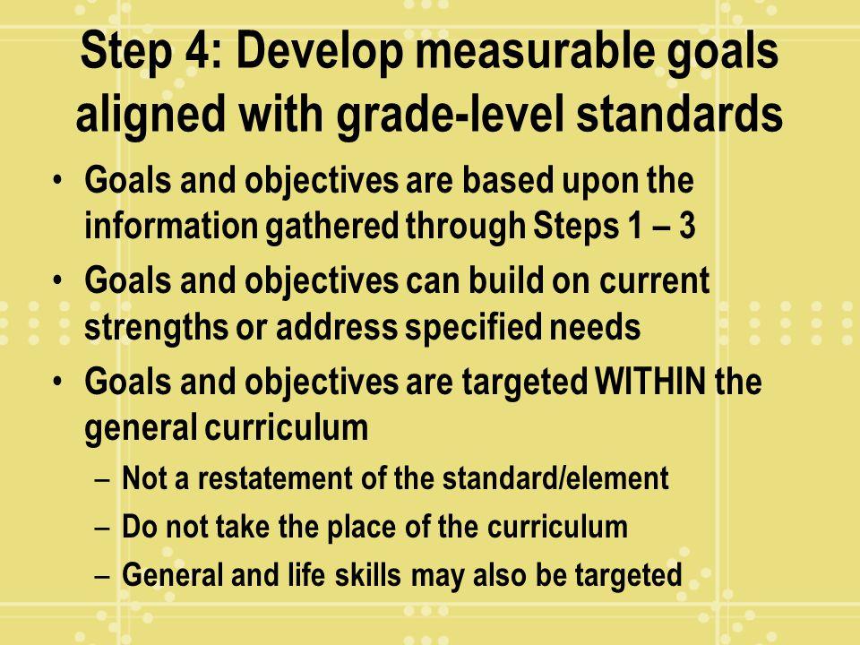 Step 4: Develop measurable goals aligned with grade-level standards
