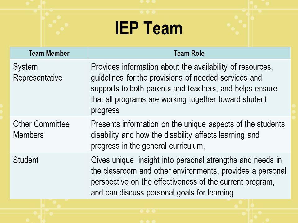 IEP Team System Representative