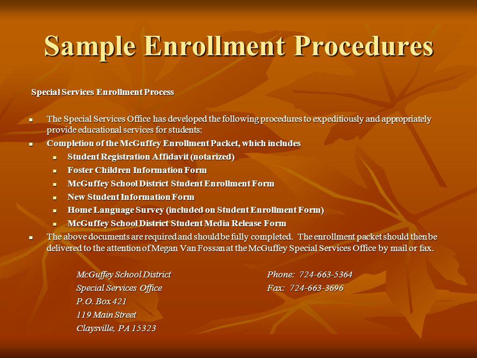 Sample Enrollment Procedures