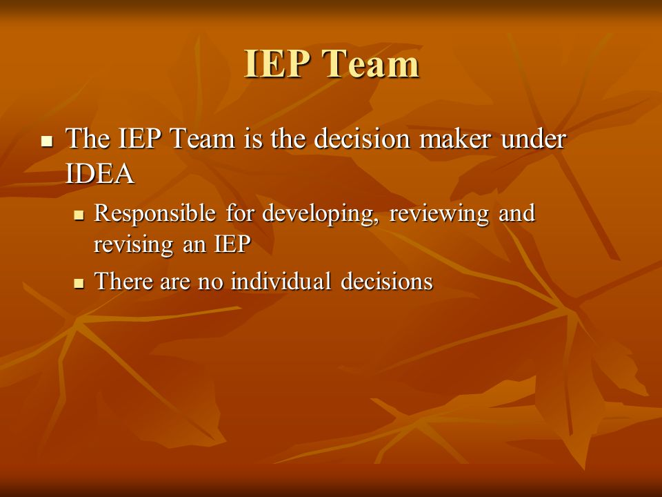 IEP Team The IEP Team is the decision maker under IDEA