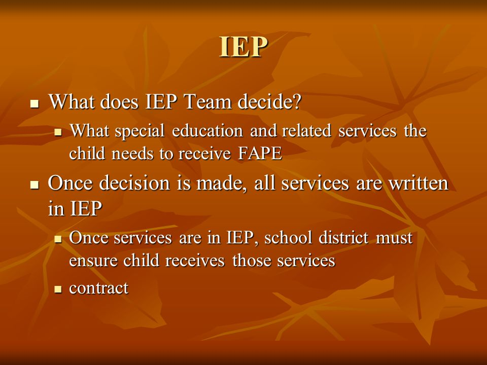 IEP What does IEP Team decide