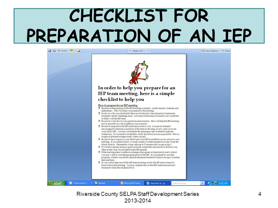 CHECKLIST FOR PREPARATION OF AN IEP