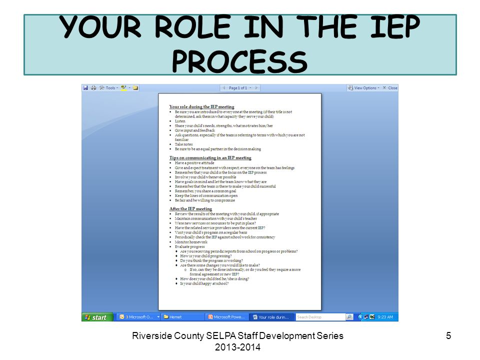 YOUR ROLE IN THE IEP PROCESS