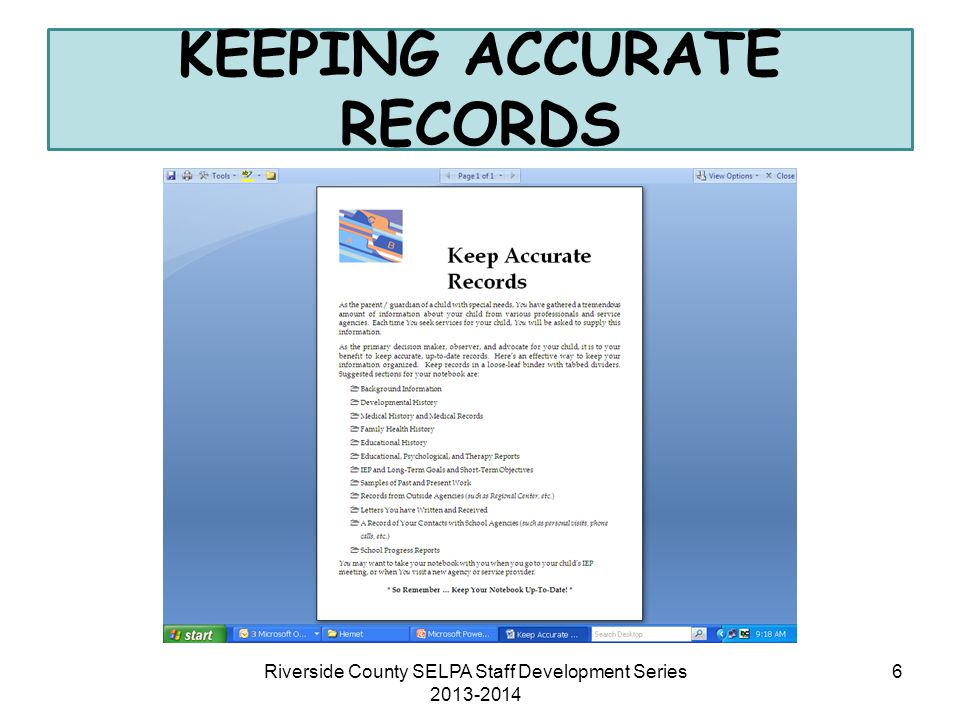 KEEPING ACCURATE RECORDS