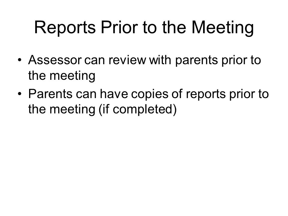 Reports Prior to the Meeting