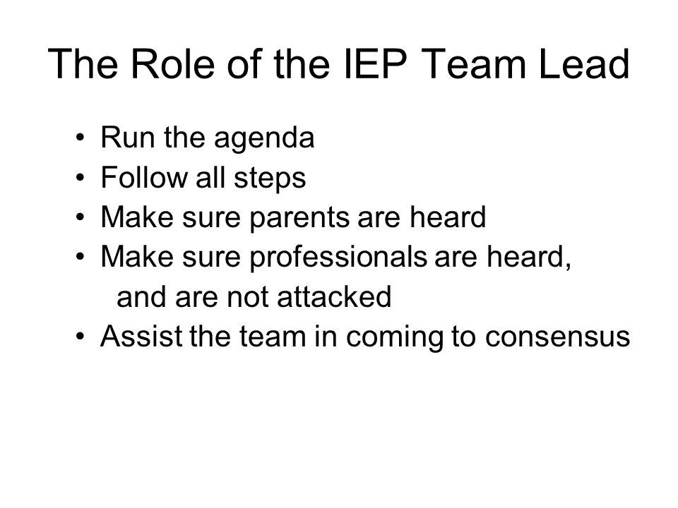 The Role of the IEP Team Lead