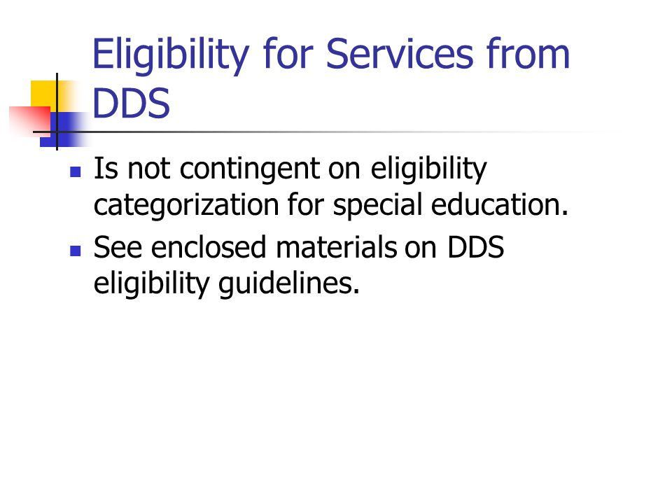Eligibility for Services from DDS