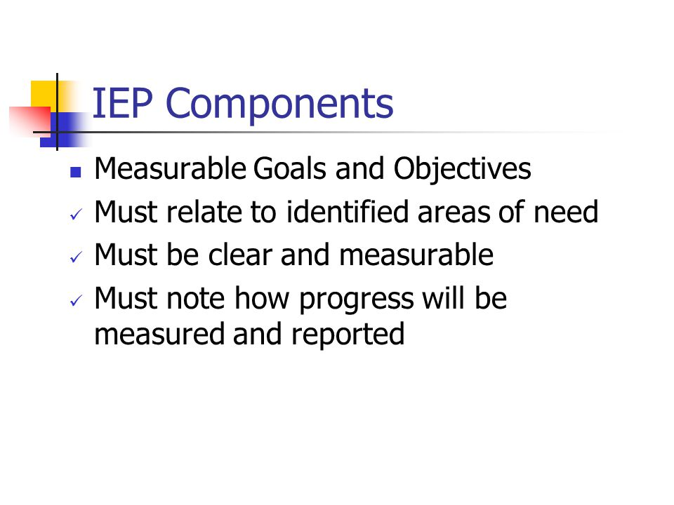 IEP Components Measurable Goals and Objectives