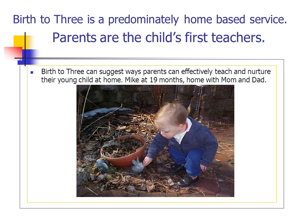 Birth to Three is a predominately home based service