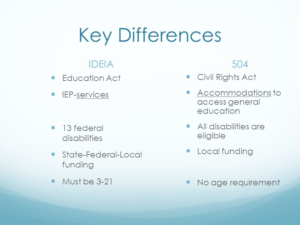 Key Differences IDEIA 504 Education Act IEP-services