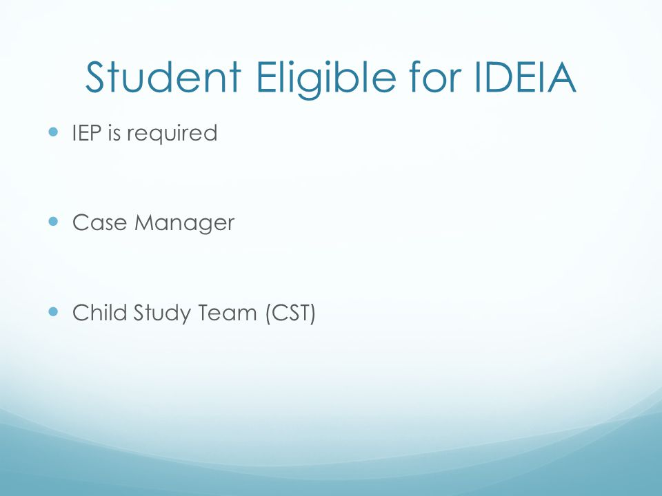 Student Eligible for IDEIA