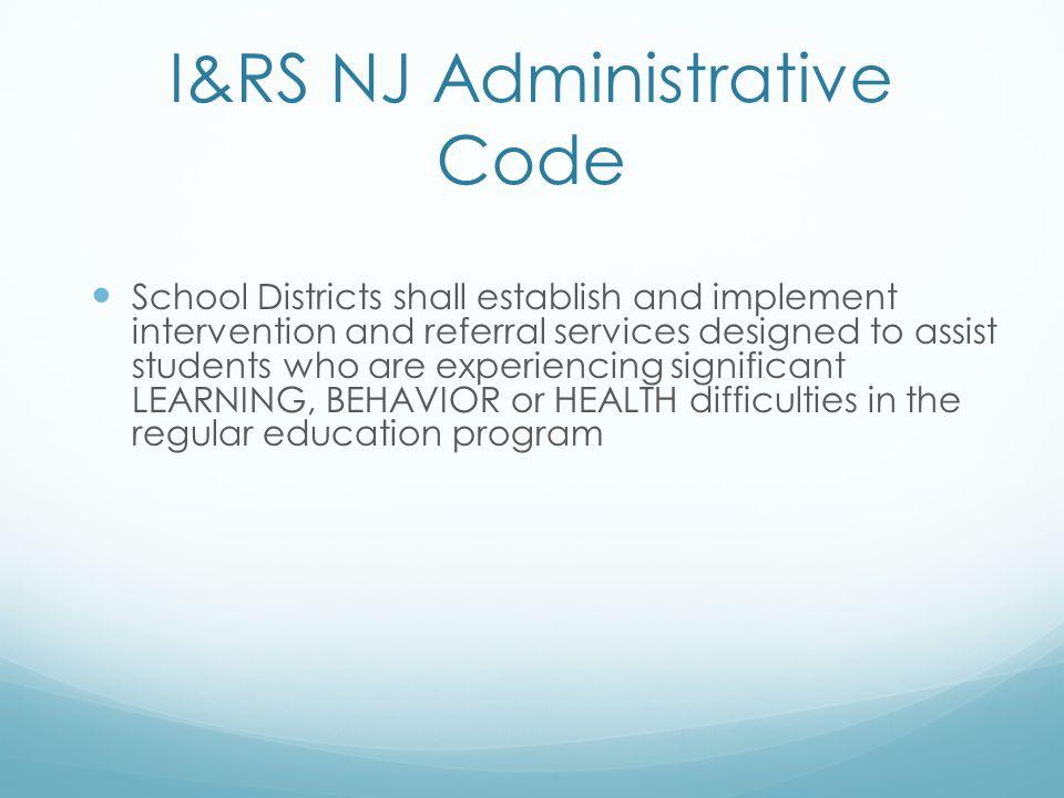 I&RS NJ Administrative Code