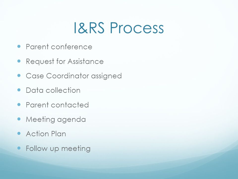 I&RS Process Parent conference Request for Assistance
