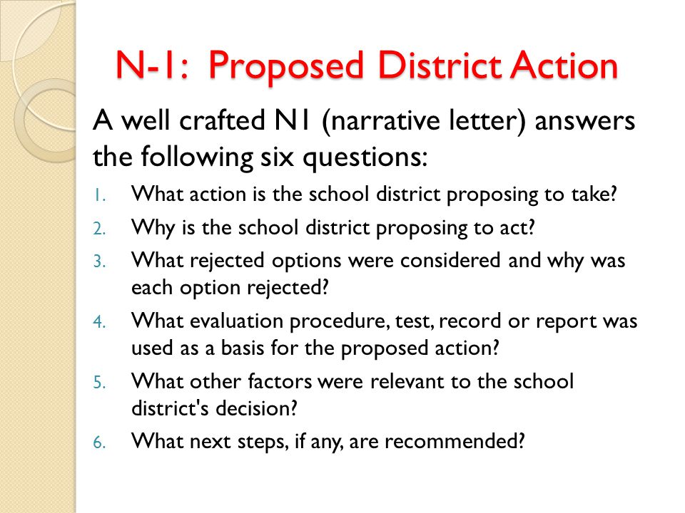 N-1: Proposed District Action