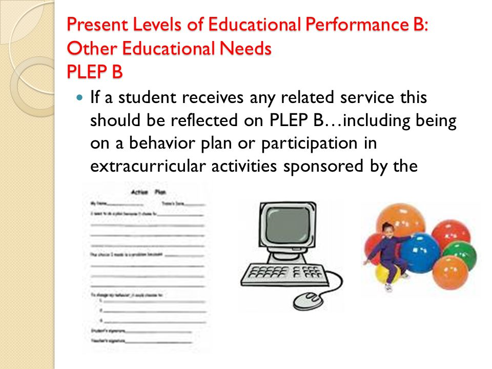 Present Levels of Educational Performance B: Other Educational Needs PLEP B