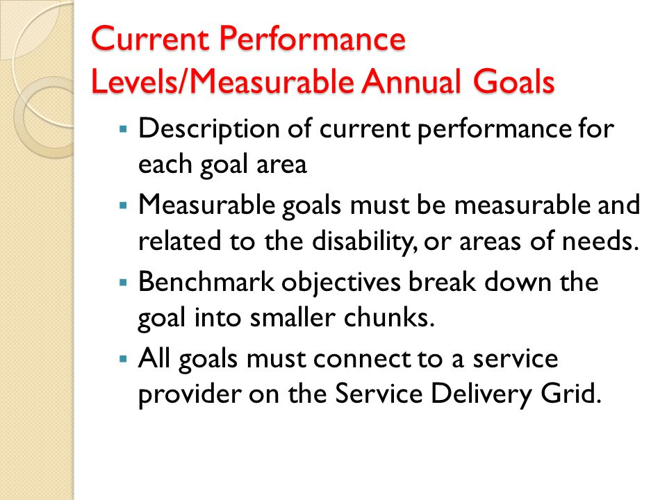 Current Performance Levels/Measurable Annual Goals