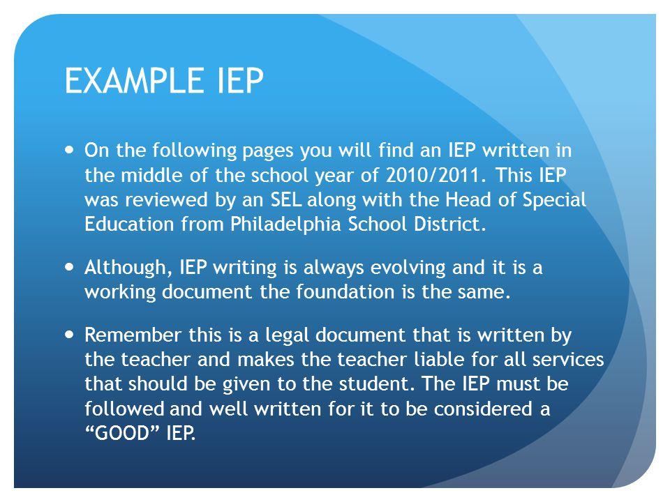 EXAMPLE IEP