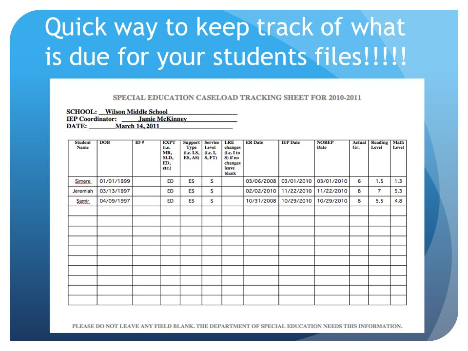 Quick way to keep track of what is due for your students files!!!!!