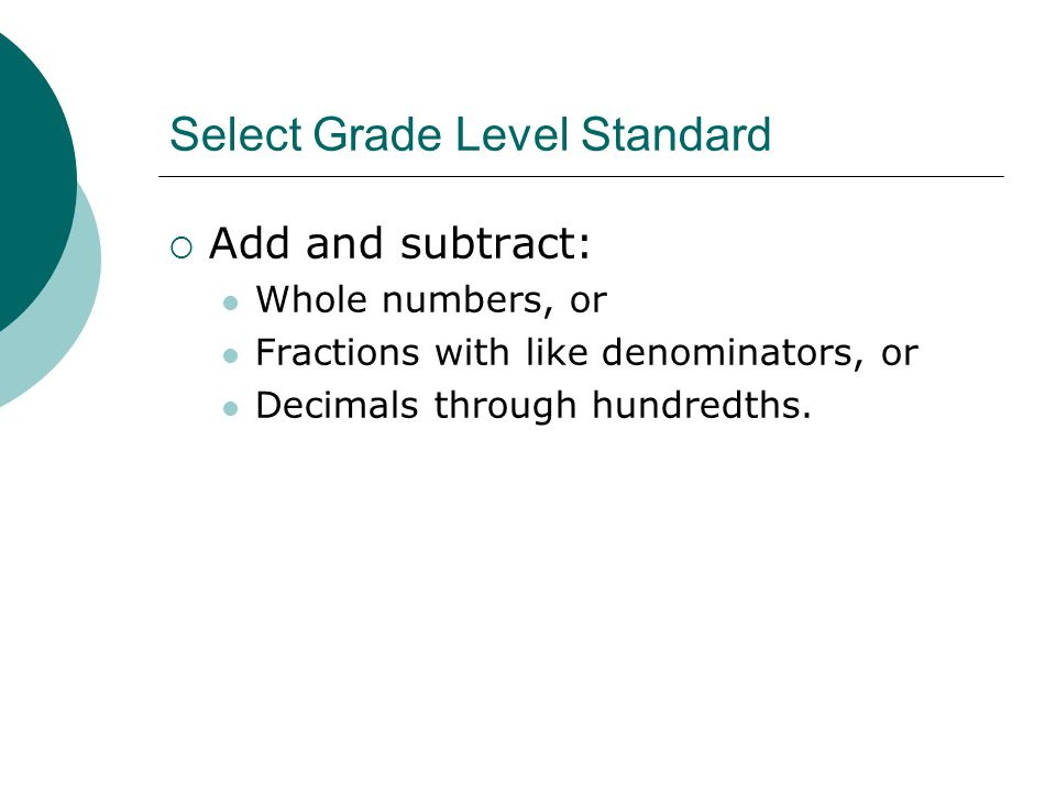 Select Grade Level Standard