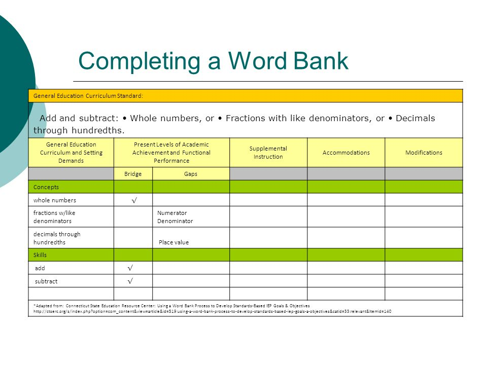 Completing a Word Bank General Education Curriculum Standard: