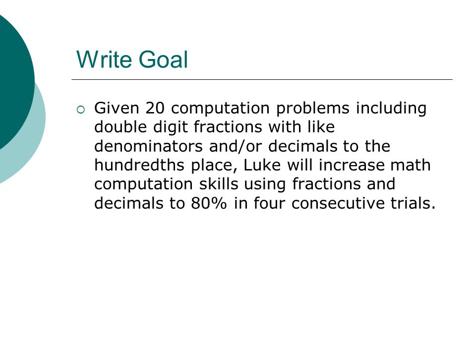 Write Goal