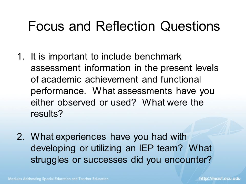 Focus and Reflection Questions