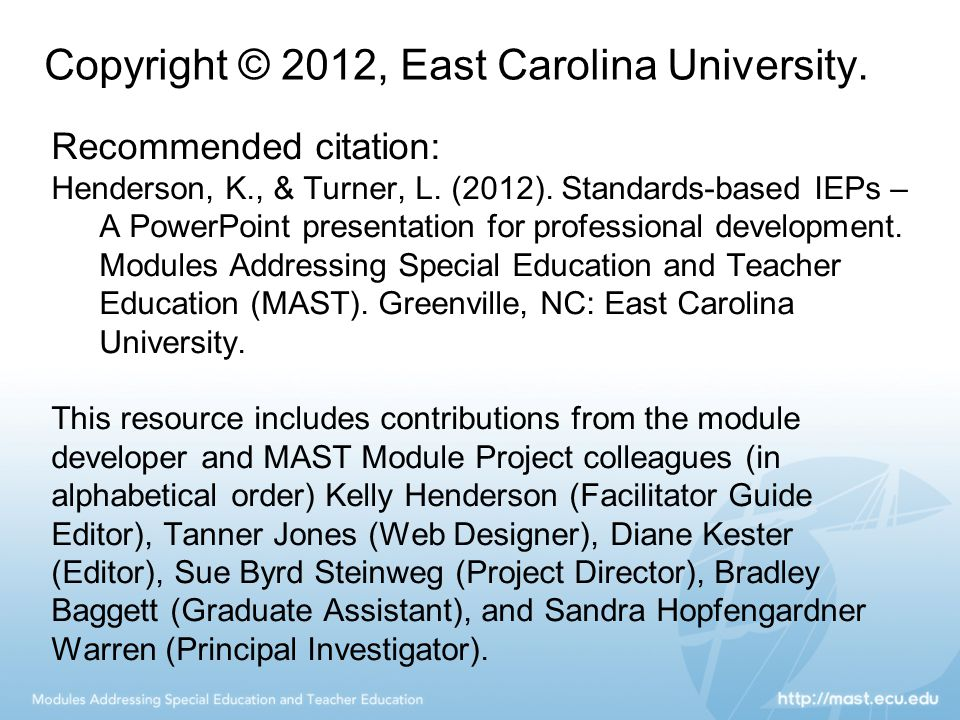 Copyright © 2012, East Carolina University.