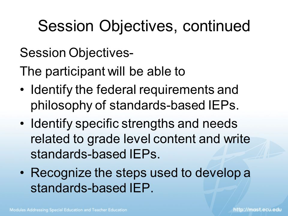 Session Objectives, continued